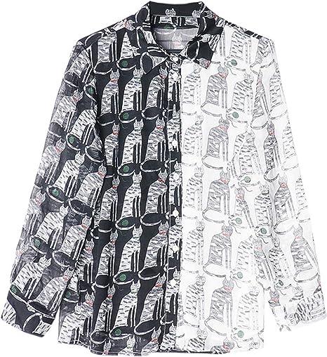 XCXDX Camisa De Gasa con Estampado De Gato para Mujer, Top con Estampado Animal, Blusa Informal con Perspectiva Sexy: Amazon.es: Deportes y aire libre