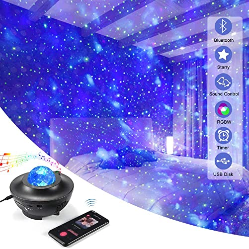 Pinshion Star Projector Light, Bluetooth Speaker Voice Control Christmas Projector Ligh 3-in-1 Sky Twilight Star Ocean Wave Projection LED Night Projector Light for Bedroom Holidays Party Home