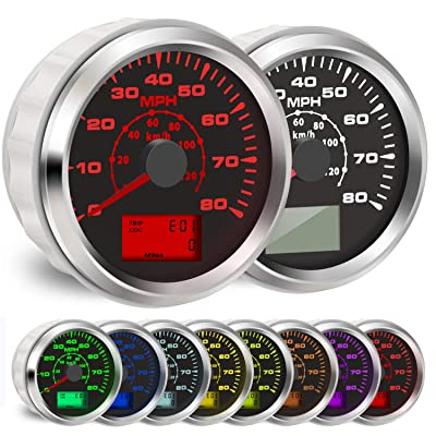 BLUERICE 7 Backlight Universal GPS Speedometer 0-120Km/h 0~80MPH 85MM GPS Speed Odometers Speed Gauges Indicators: Automotive