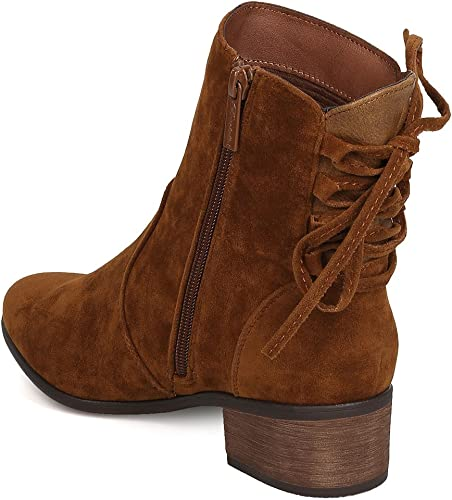 Breckelles Women Houston-14 Faux Suede Back Lace Up Chunky Heel Tan Boot