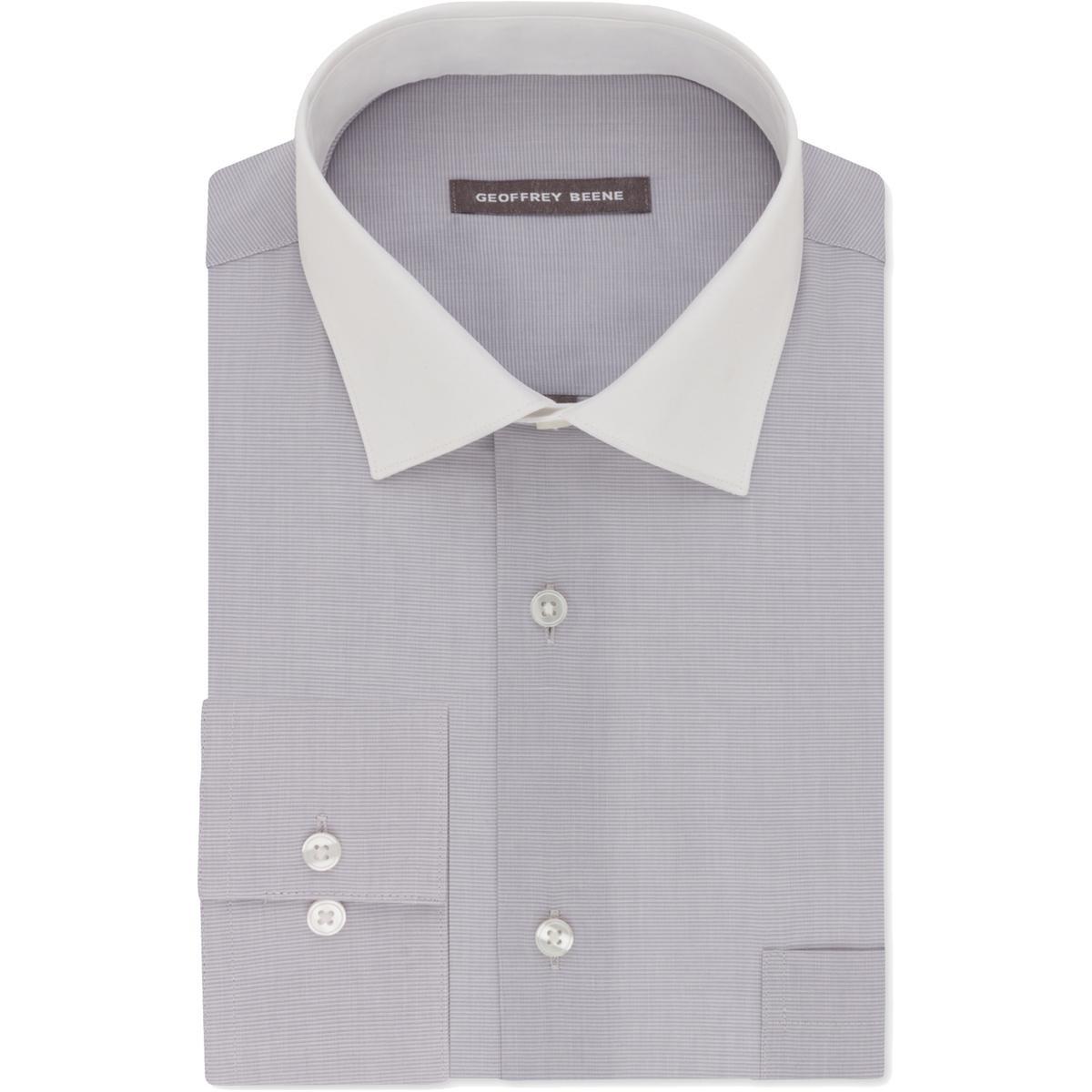 Geoffrey Beene Mens Classic Fit Contrast Trim Dress Shirt Silver S