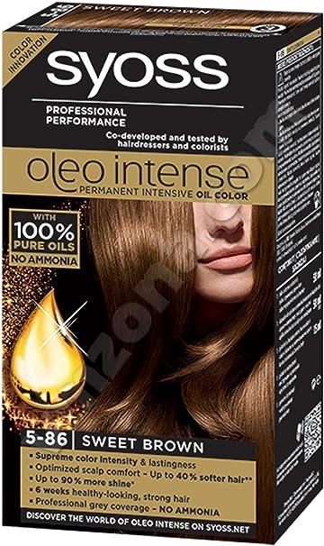 Syoss Oleo Intense Tinte para el cabello 100% aceites puros, 0% amoníaco 5-86 marrón dulce