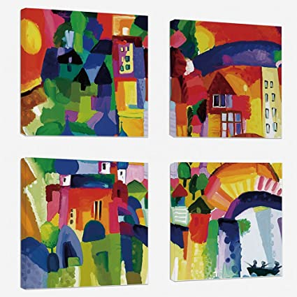 Amazon Com 4pcs Set Modern Painting Canvas Prints Wall Art For Home