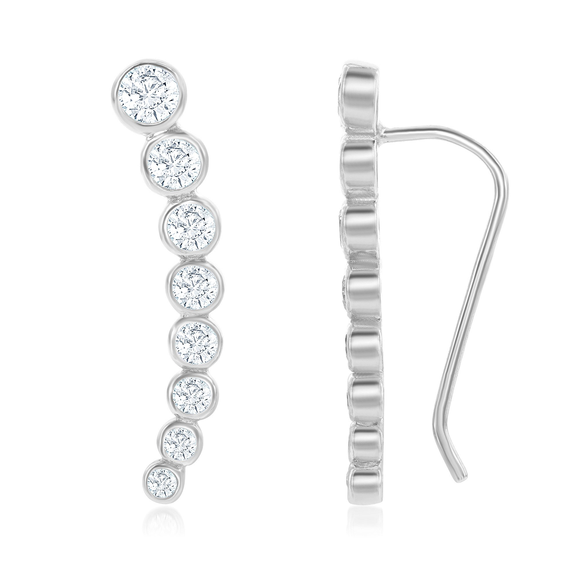 Sterling Silver 925 Bezel-set Zirconia Curved Bar Ear Climber Crawler Cuff Studs Hypoallergenic Earrings