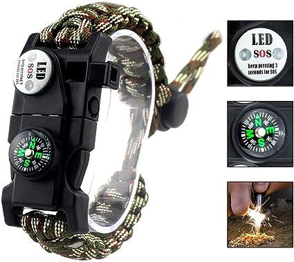 Outdoor Réglable Paracord Survival Bracelet couteau Boussole Sifflet Firestarter