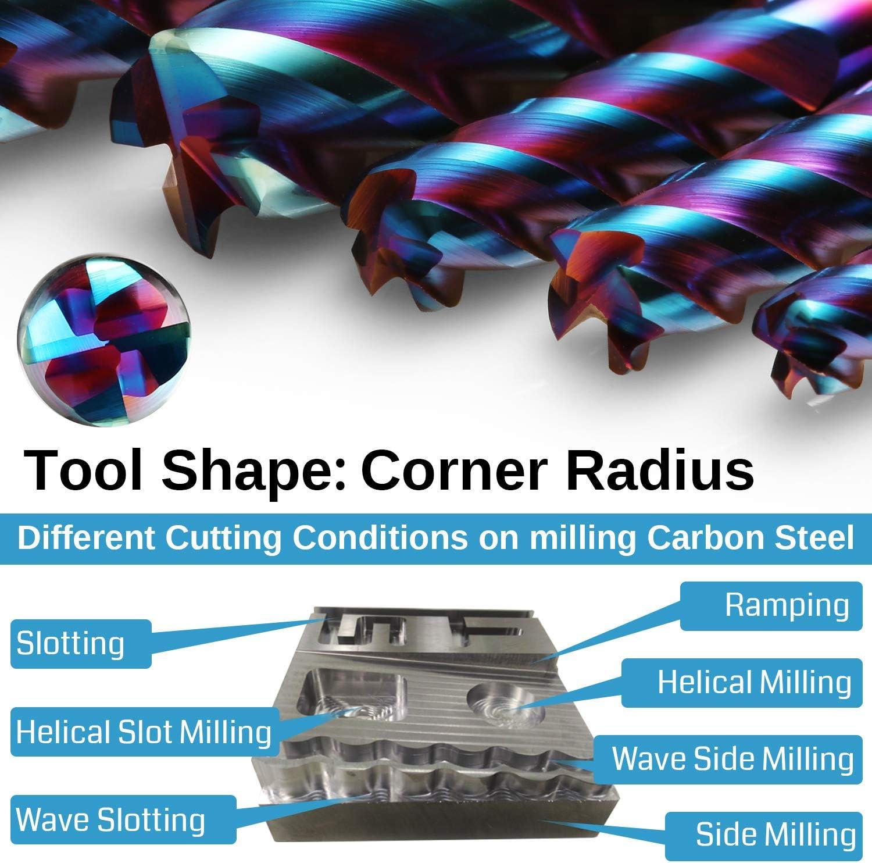 CNC Router Bits Corner Radius End Mill 6mm Shank 6.0mm Cut Dia 1.0mm Radius