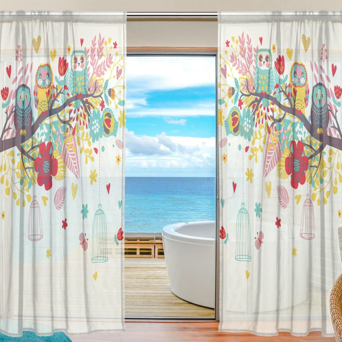 SEULIFE Window Sheer Curtain Animal Owl Tree Flower Voile Curtain Drapes for Door Kitchen Living Room Bedroom 55x78 inches 2 Panels