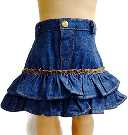 Pink Embroidered Top//Denim Skirt 2pc Skirt Set Fits 18 inch American Girl Dolls