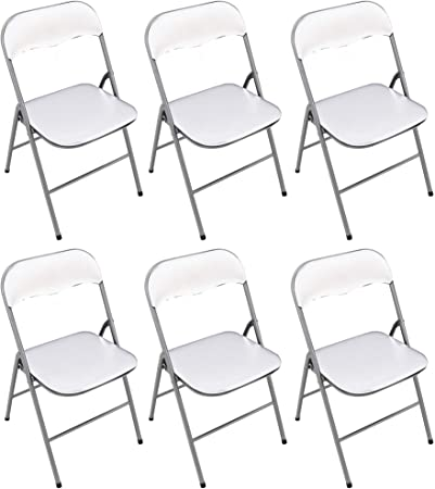 Milani Home srls Set di 6 SEDIE Pieghevoli Slim Bianche OPACHE Struttura Grigia per Interno Sala da Pranzo Salotto Cucina Ufficio