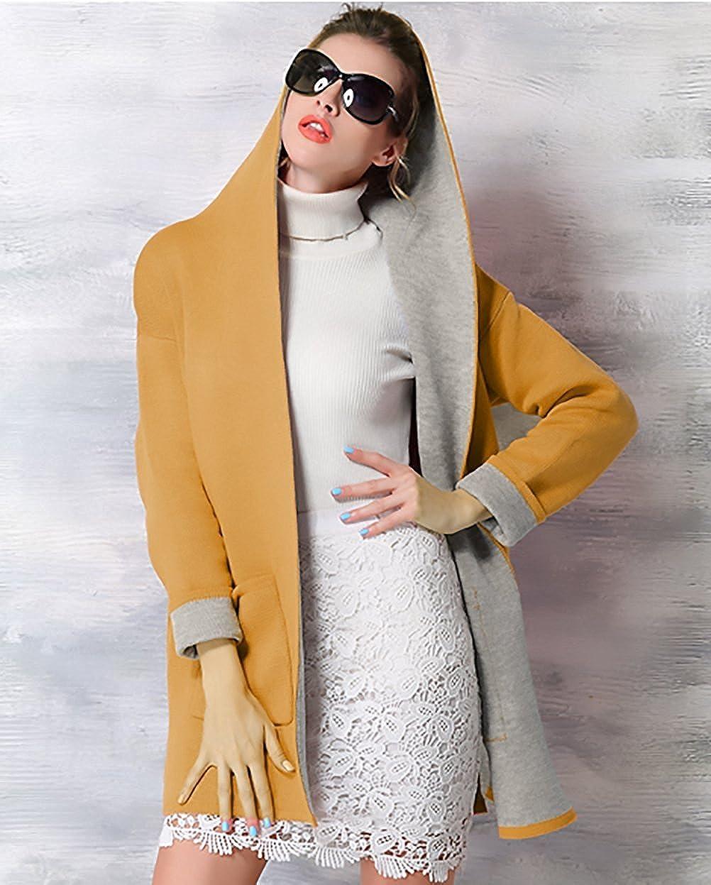 Minetom Damen Herbst Winter Mantel Lang Elegant Langarm Jacken Mit Kapuze Vintage Mischfarben Oversize Taschen Mäntel