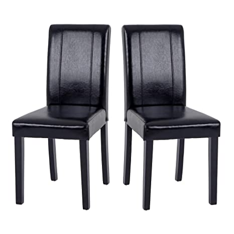 Set of 2 Modern Fabric Upholstered Dining Chairs Elegant Design Dining Room  Chairs (Black Set of 2)