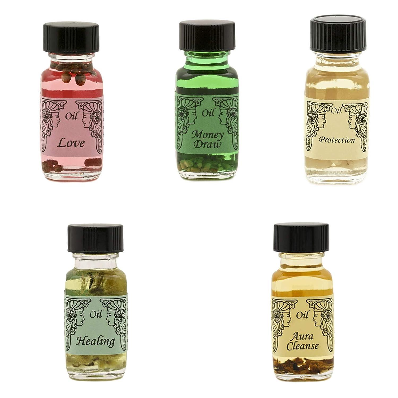 アンシェントメモリーオイル 基本の5本セット(LOVEMoneyDrawProtectionHealingAura Cleanse+ミニスポイド瓶)   B07NCS6Y89