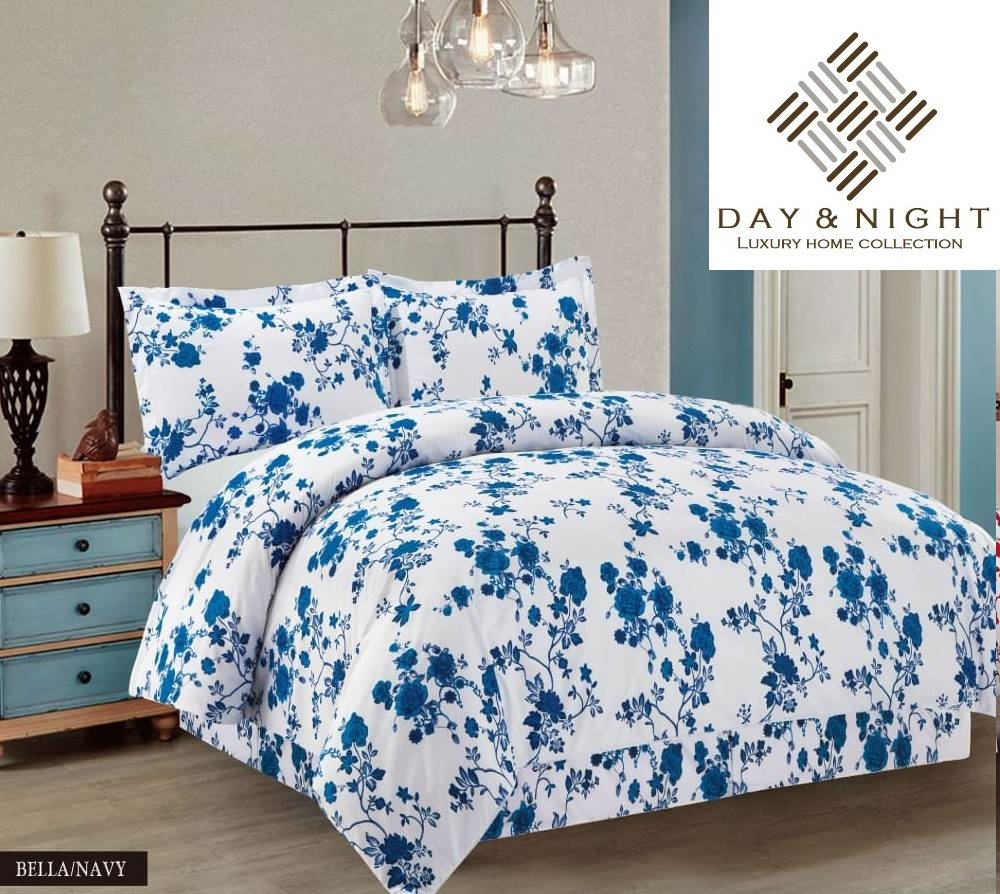 Luxury BELLA BED SHEET SET Flower Floral Bedding Set 1 x Flat Sheet 1 x Fitted Sheet 2 x Pillow Cases Bedroom Decoration (Black, Double) Day Night Bedding LTD