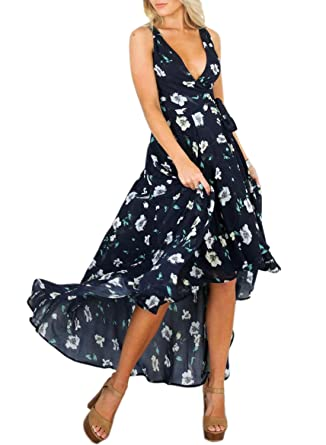 3bde6b080926 Futurino Women's Wrap V Neck Sleeveless Floral Print Chiffon High Low Maxi  Dress