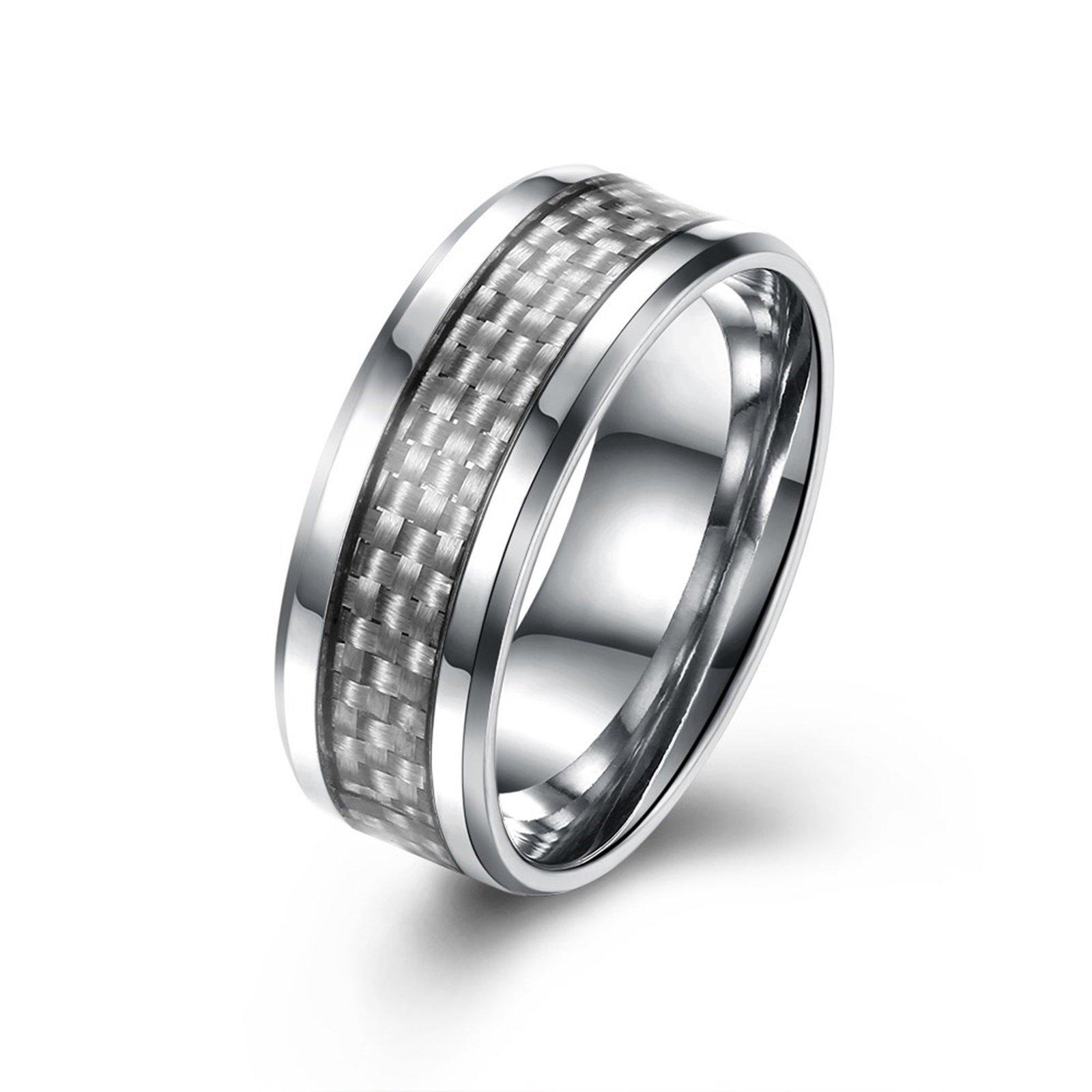 AnaZoz Fashion Rings, Stainless Steel 8MM Men's Titanium Ring Wedding Band Carbon Fiber Inlay Size 9