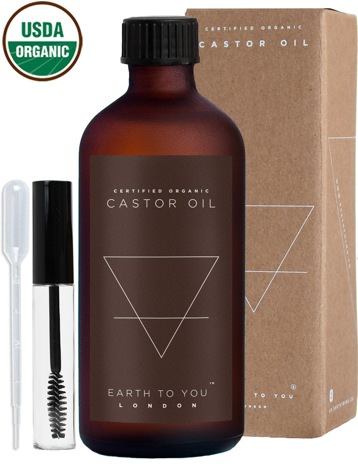 Castor Oil Organic USDA Certified, 100% Pure, Cold Pressed, Unrefined, Vegan, Treatment for Hair Growth, Eyelashes, Moisturizer for Face, Skin 100ml (3.5oz) & Hygienic Applicator Set by Earth To You by Earth To You