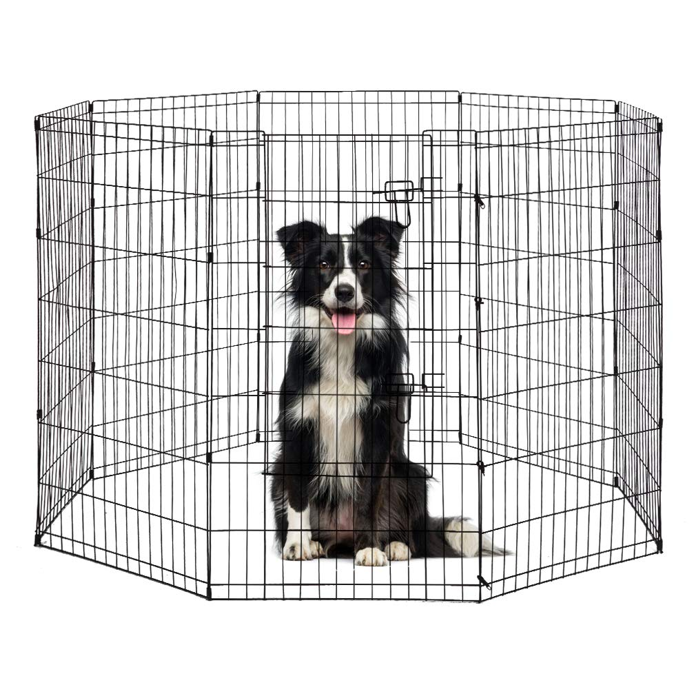 Black BestPet 8-Panel Tall Dog Playpen Crate Fence Pet Kennel Play Pen Exercise Cage, 48-Inch, Black
