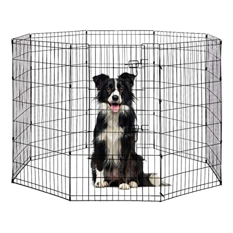 BestPet Puppy Pet Playpen 8 Panel Indoor Outdoor Metal Protable Folding  Animal Exercise Dog Fence,24