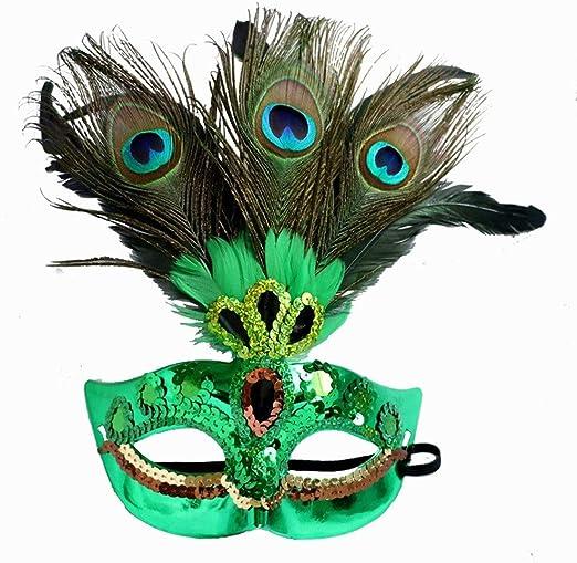 Qichengdian Máscara de Baile Plumas de Pavo Real para Fiestas de ...