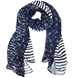 """Wrapables Stripes and Anchor Nautical Marine Scarf 72"""" X 42"""""""