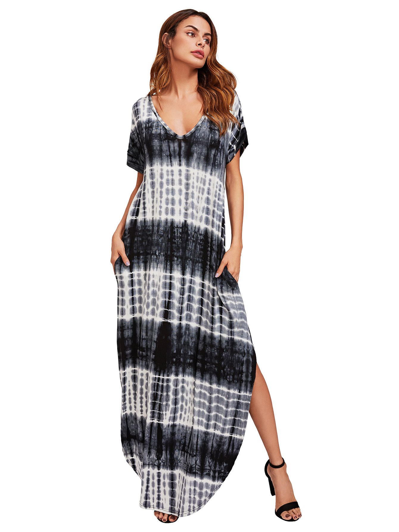 MakeMeChic Casual Maxi Short Sleeve Split Tie Dye Long Dress #Black and White XL