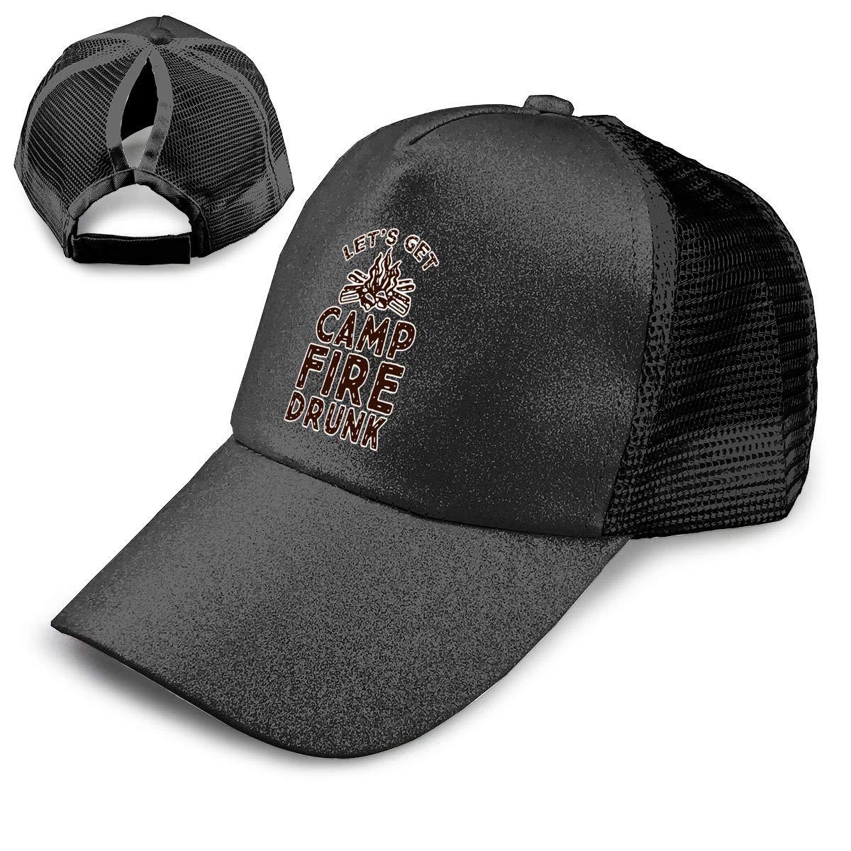 Lets Get Campfire Drunk Ponytail Messy High Bun Hat Ponycaps Baseball Cap Adjustable Trucker Cap Mesh Cap