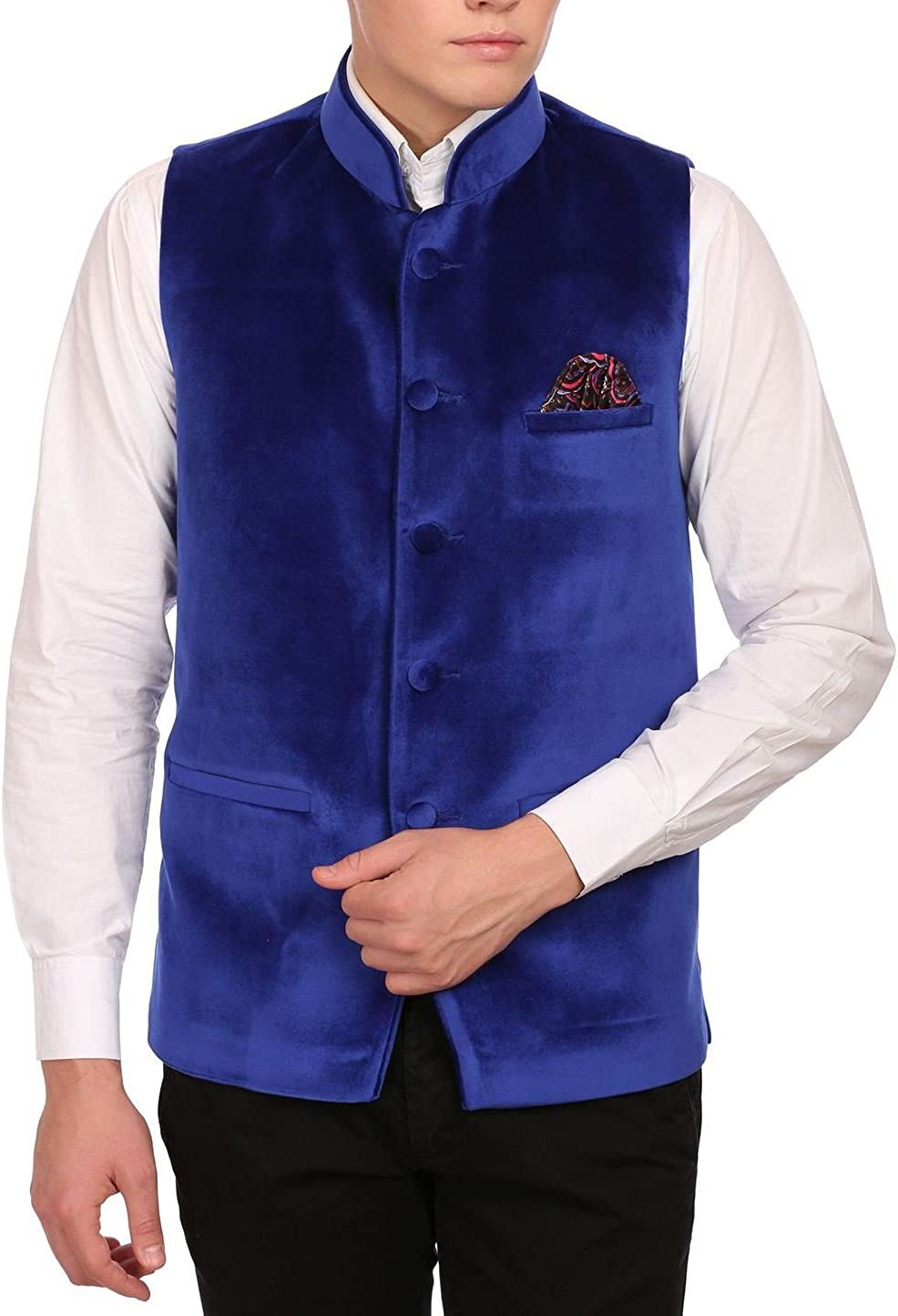 WINTAGE Men's Velvet Grandad Collar Party Nehru Jacket Vest Waistcoat - 7 Colors