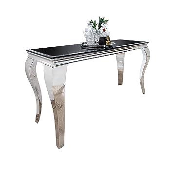 Konsolentisch MODERN BAROCK Opalglas Beistelltisch Konsole Tisch Schwarz