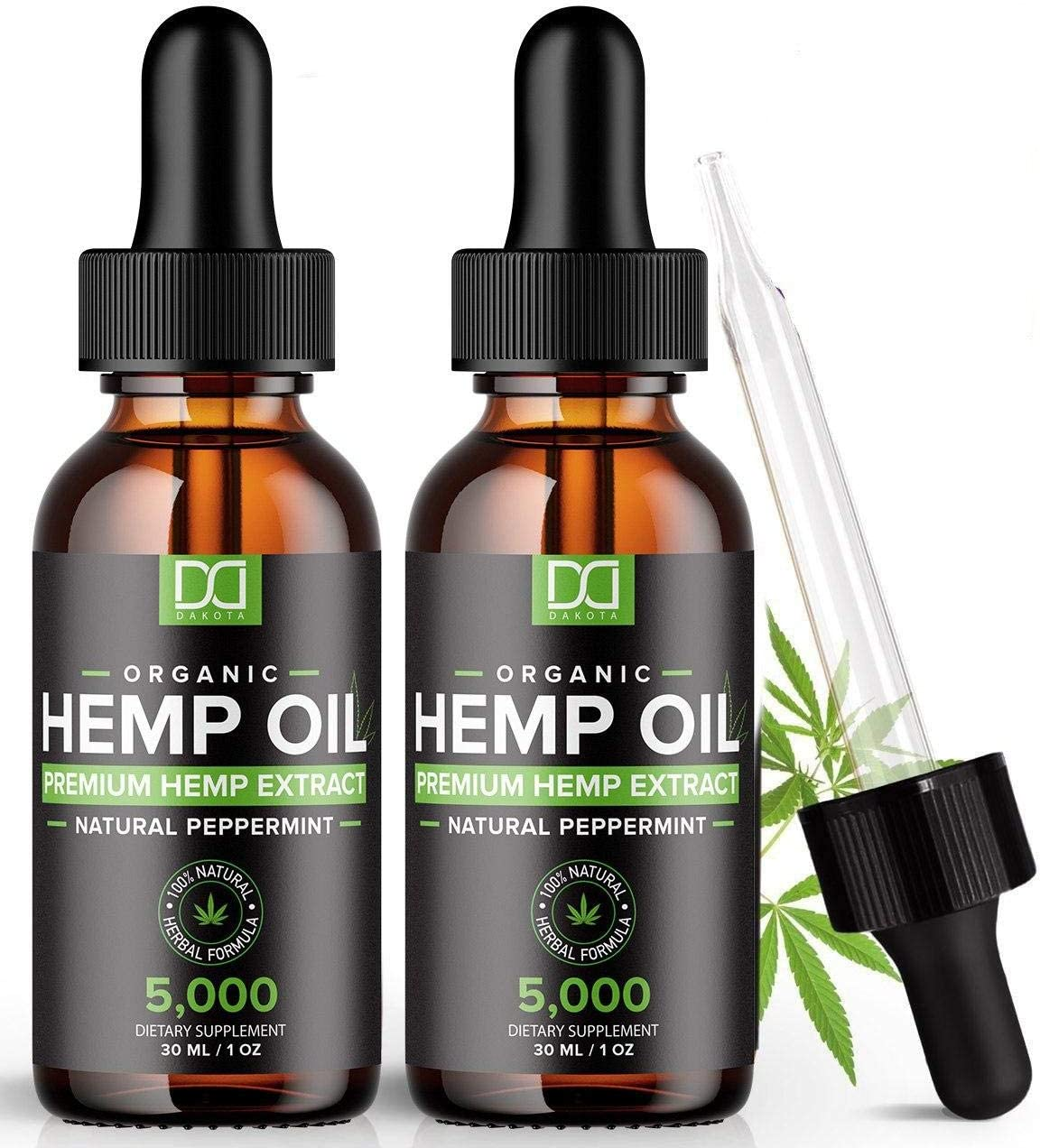 (2 Pack) 5000MG Hemp Oil for Pain Relief Anxiety Sleep Mood Stress 10000mg Total - Aceite de Cáñamo, l'huile de chanvre, Immune Support - Best Pure Natural Organic Hemp Seed Extract Tincture Drops: Health & Personal Care
