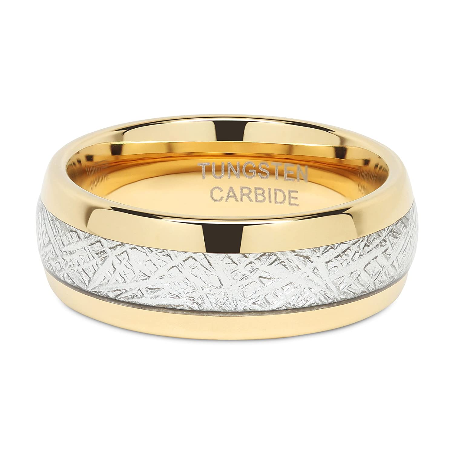 Mens Wedding Bands Tungsten Gold Rings Comfort Fit Imitated