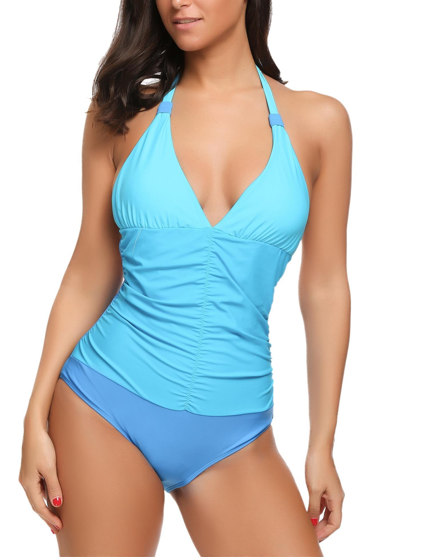 Avidlove Women's Halter One Piece Swimsuits Monokini Shirred Bathing Suit(Blue,M)