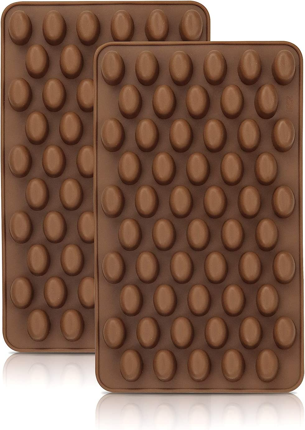 WYBG 2PCS Mini Coffee Beans Chocolate Silicon Mold 55-Cavity Silicone Candy Mold for Small Jelly Bean,Pastry,Candy,Fondant Molds, Baking Mold DIY Cake Decorating.