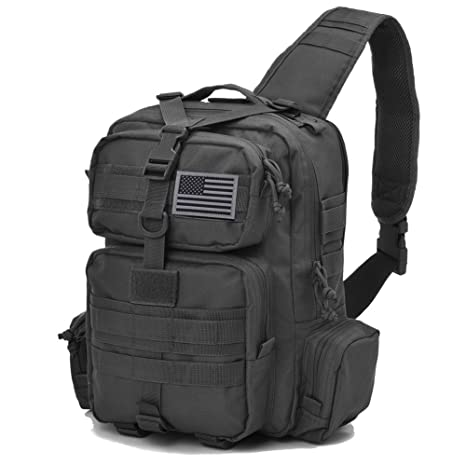 8be489311 Amazon.com : Tactical Sling Bag Pack Military Rover Shoulder Sling Backpack  Molle Assault Range Bag Everyday Carry Bag Day Pack with Tactical USA Flag  Patch ...