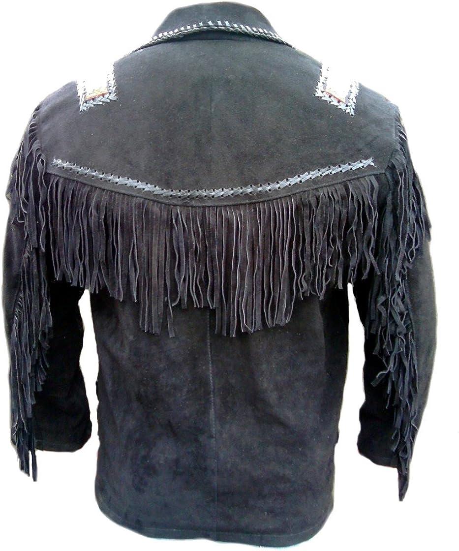 Beaded /& Bones SRHides Mens Cowboy Leather Coat Fringed