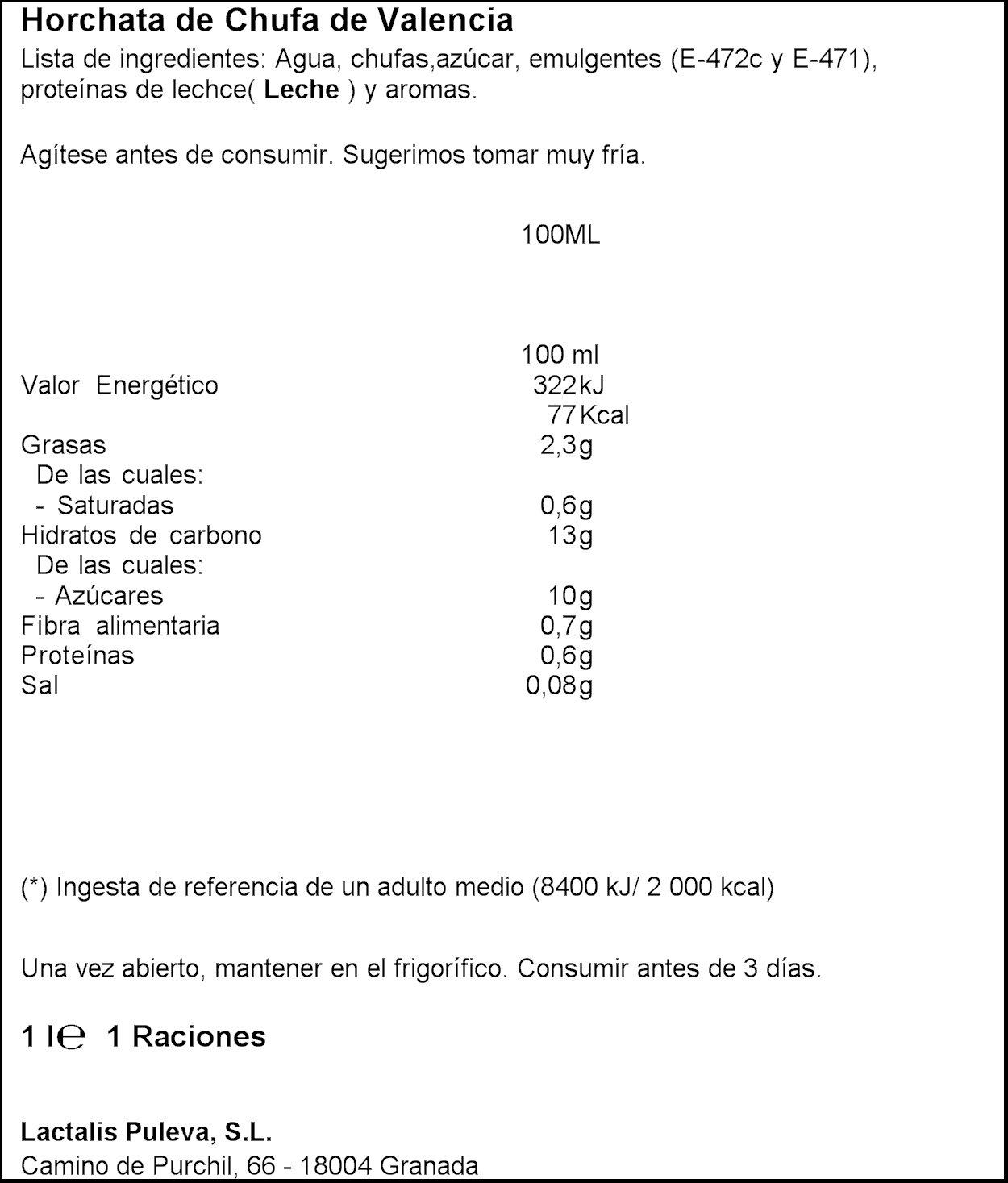 Chufi Horchata Original - 1 L: Amazon.es: Alimentación y bebidas