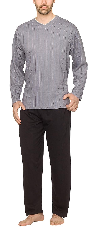 Moonline - Pijama de hombre con cuello de pico y diseño a rayas: Amazon.es: Ropa y accesorios