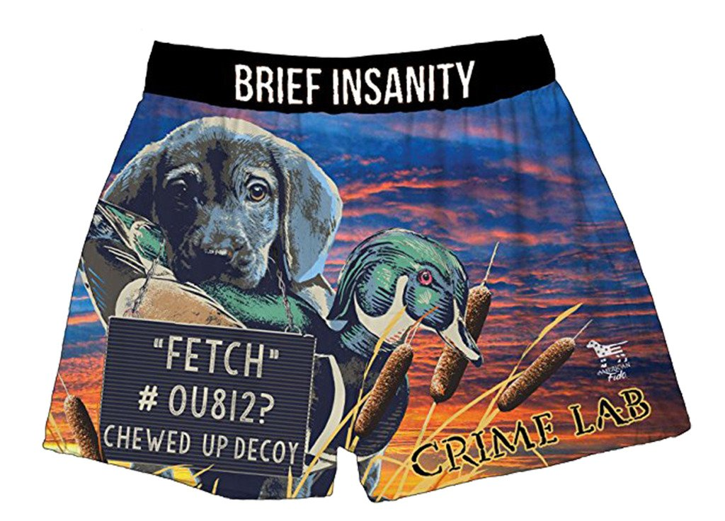 Brief Insanity Crime Lab Dog Lovers American Fido Silky Funny Boxer Shorts Gifts for Men