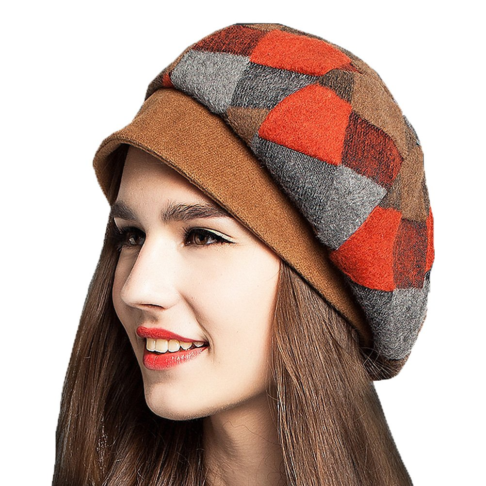 Maitose&Trade; Women's Scottish Plaid Wool Peaked Cap Beret Orange Red