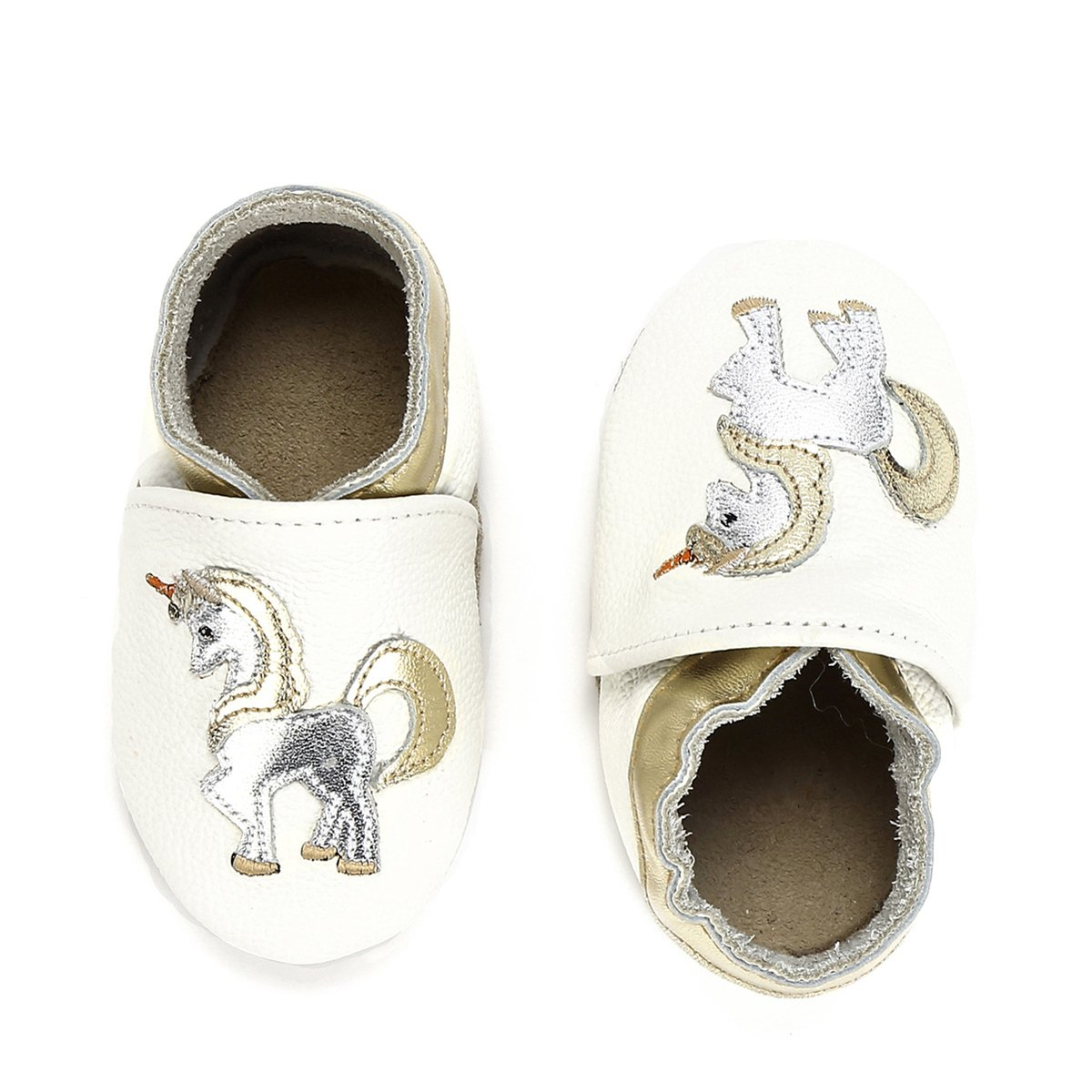 Unicorn Baby Moccasins Girl and Boy Soft Leather Toddler First Walker Shoes 0-6-12-18-24 Months (7 M Toddler(5.9inch/ 18-24Mo.), White Unicorn)