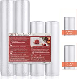 YISSVIC Vacuum Sealer Bag 4 Rolls in 8 Inch x 16 Feet (2 Rolls) and 11 Inch x 16 Feet (2 Rolls) Vacuum Seal Roll Food Saver Bags Rolls for Food Saver, Vacuum Sealer Machine and Sous Vide