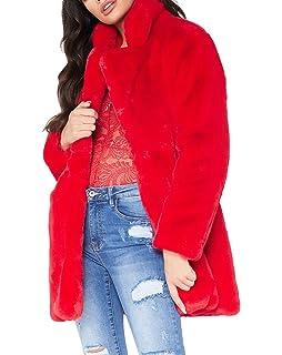 1afc4e329a32 Remelon Womens Long Sleeve Winter Warm Lapel Fox Faux Fur Coat Jacket  Overcoat Outwear with Pockets
