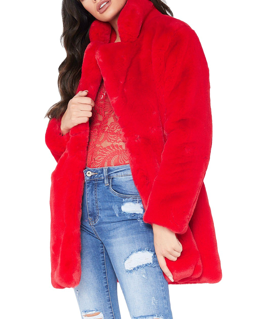 Remelon Womens Long Sleeve Winter Warm Lapel Fox Faux Fur Coat Jacket Overcoat Outwear with Pockets Red S by Remelon