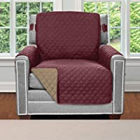 Sofa Shield Original Patent Pending Reversible Chair Protector for Seat Width up to 23 Inch, Furniture Slipcover, 2 Inch Strap, Chairs Slip Cover Throw for Pets, Kids, Cats, Armchair, Burgundy Tan