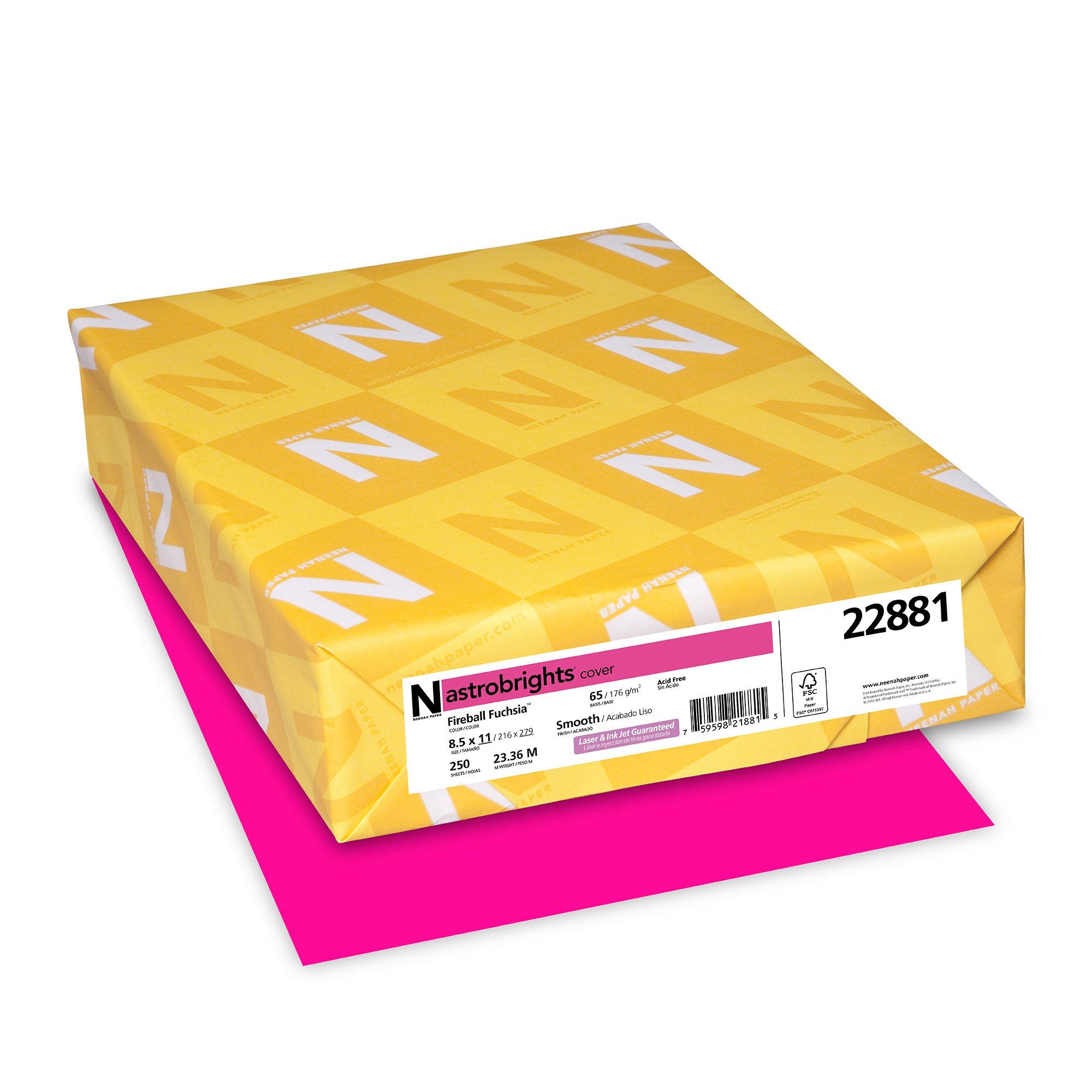 Wausau Astrobrights Cardstock, 65 lb, 8.5 x 11 Inches, Fireball Fuchsia, 250 Sheets (22881)