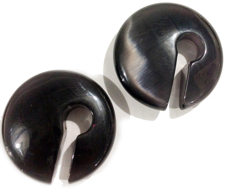 Bandaru Organics Grey Cats Eye Rounded Keyhole Plugs