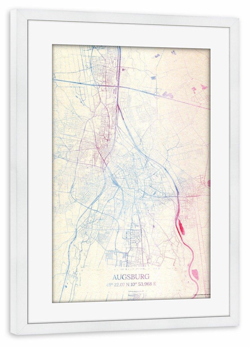 ArtboxONE Poster mit Rahmen Weiß 60x40 cm Augsburg Deutschland Map Rose and Serenity I von Makadi Atatu