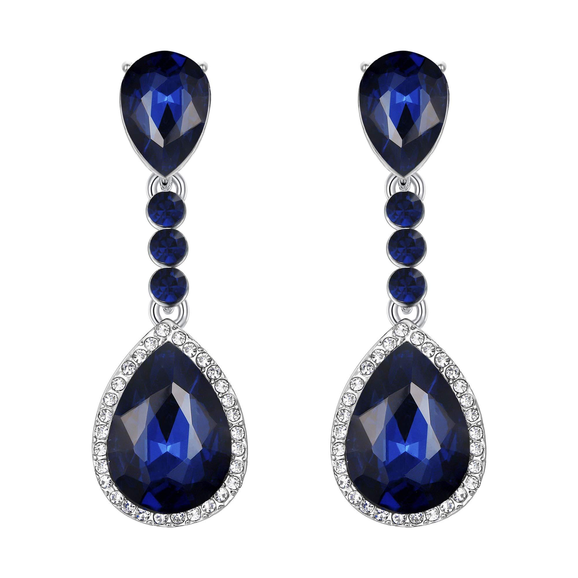 BriLove Silver-Tone Clip-On Dangle Earrings for Women Wedding Bridal Crystal Teardrop Infinity Figure 8 Chandelier Earrings Navy Blue Sapphire Color