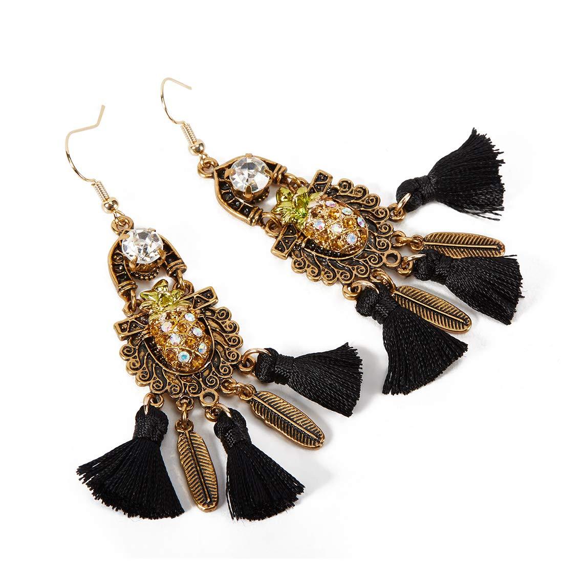 QANCI Colorful Layered Tassel Earrings Baroque Dangle Drop Tiered Druzy Stud Earrings for Women Girls Gifts (Style B)