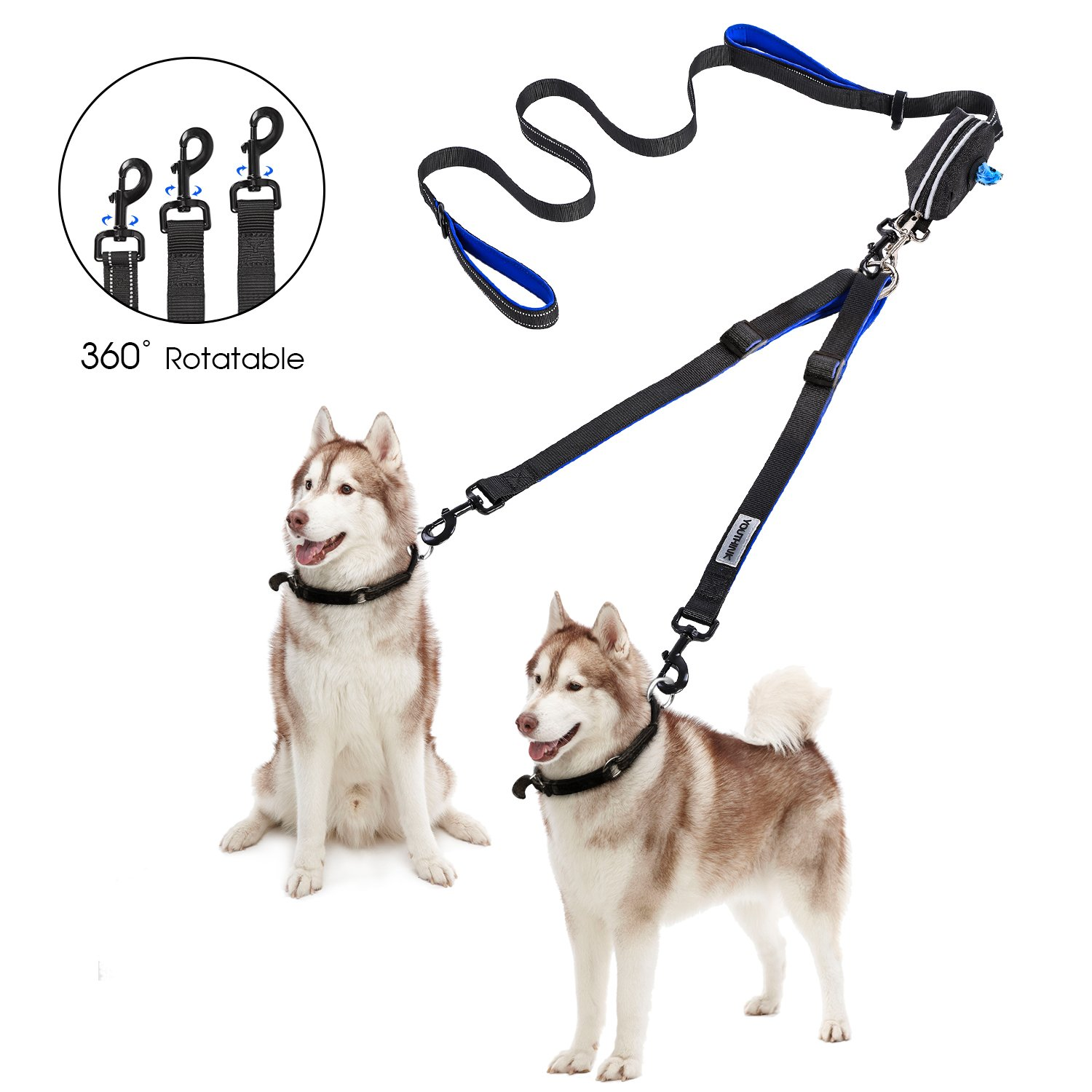 YOUTHINK Double Dog Leash, No Tangle Dog Walking leash for 2 Dogs up to 180lbs, Comfortable Adjustable Dual Padded Handles, Bonus Pet Waste Bag