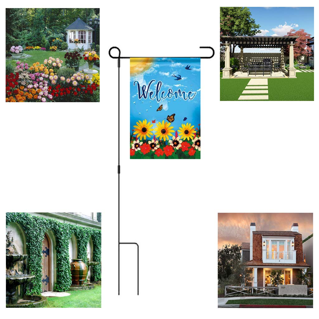 2-Pack Gardens Flower Beds Planters Lawn Ymeibe Garden Flag Poles for 12.5 x 18 Flags Wrought Iron Outdoor Flag Stand Holder 36.5 H x 16.5 W Excellent Display in Yard